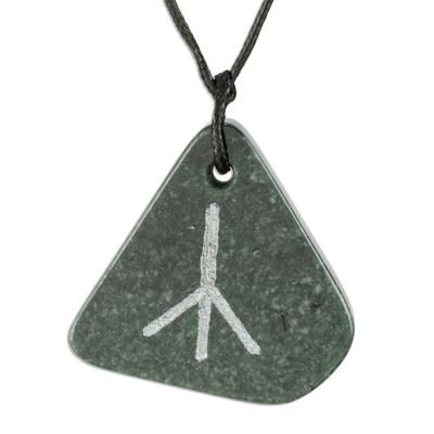 Dark Green Jade Calc Rune Pendant Necklace