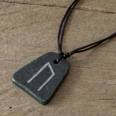 Jade pendant necklace, Rune Uruz