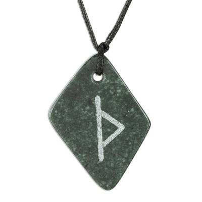 Jade pendant necklace, 'Rune Thurisaz' - Unique Green Jade Rune Necklace from Guatemala