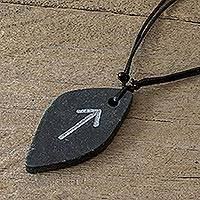 Jade pendant necklace, 'Rune Tiwaz' - Unisex Jade Pendant Necklace with Tiwaz Rune