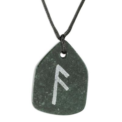Hand Crafted Unisex Jade Rune Necklace
