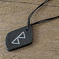 Jade pendant necklace, 'Rune Berkana' - Berkana Rune Jade Pendant Necklace on Cotton Cord