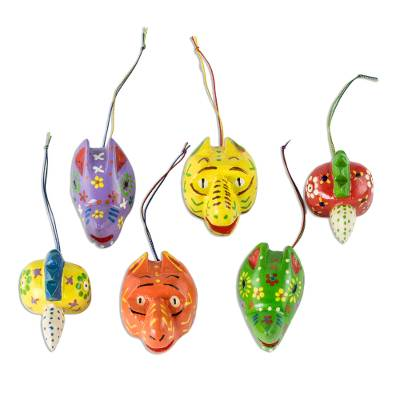 Wood ornaments, 'Little Animals' (set of 6) - Hand Crafted Guatemalan Animal Ornaments (Set of 6)