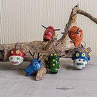Wood ornaments, 'Colorful Animals' (set of 6)