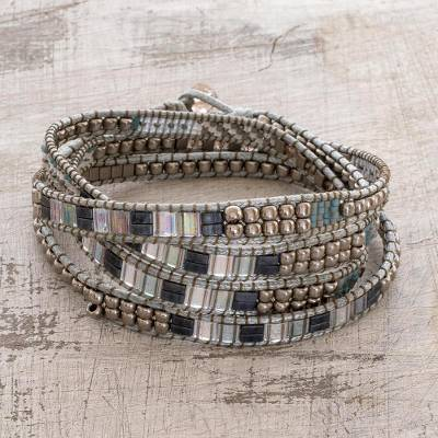Beaded wrap bracelet, 'Magic Sparkle' - Grey and Metallic Beaded Wrap Bracelet from Guatemala