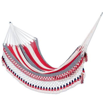 Cotton rope hammock, 'Patriot' (single) - Single All-Cotton Red White and Blue Hammock