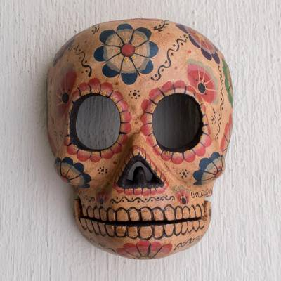 Wood mask, 'Flirty Floral Skull' - Handcrafted Day of the Dead Floral Skeleton Mask