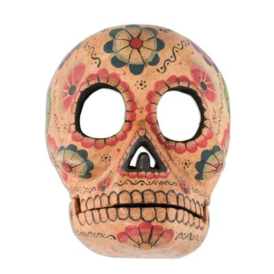 Wood mask, 'Flirty Floral Skull' - Handcrafted Day of the Dead Floral Skeleton Mask