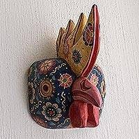 Wood mask, 'New Day' - Hand Crafted Wood Rooster Folk Art Mask