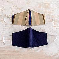 Cotton face masks 'Patience and Hope' (pair) - 2 Handwoven 3-Layer Masks in Stripe & Solid Blue Cotton