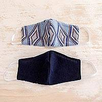 Cotton face masks 'Blue Diamond Brocade' (pair) - 2 Handwoven Blue Cotton Masks in Brocade & Solid Navy