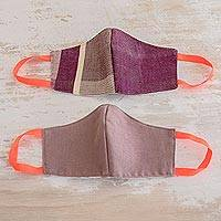 Cotton face masks 'Resilience' (pair) - 2 Handwoven Masks in Berry Stripes & Solid Mauve Cotton