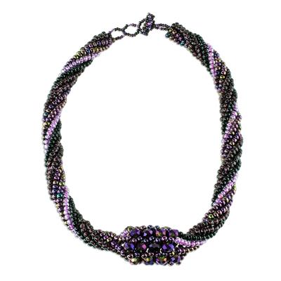 Beaded torsade necklace, 'Purple Rain' - Purple Beaded Torsade Necklace from Guatemala