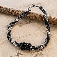 Beaded torsade necklace, 'Starlit Falls' - Black and Metallic Beaded Torsade Pendant Necklace