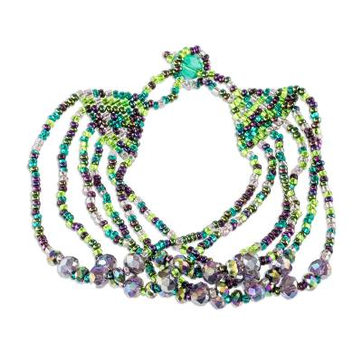 Beaded wristband bracelet, 'Fiesta in Izabal' - Green and Purple Bracelet with Crystal and Glass Beads