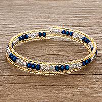 Beaded wrap bracelet, 'Brilliant Blue' - Blue and Gold Crystal Beaded Wrap Bracelet
