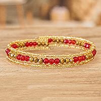Beaded wrap bracelet, 'Brilliant Orange' - Orange and Gold Beaded Handmade Wrap Bracelet