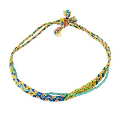 Macrame beaded wristband bracelet, 'Solola Spring' - Spring Colors Cotton Macrame Bracelet with Beads