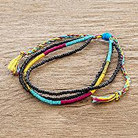 Beaded wristband bracelet, 'Alegria' - Adjustable Multicolored Beaded Wristband Bracelet