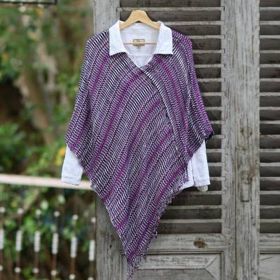 Natural dyes cotton poncho 'Amethyst Intrigue'  - Guatemalan Handwoven Cotton Poncho in Pink and Purple
