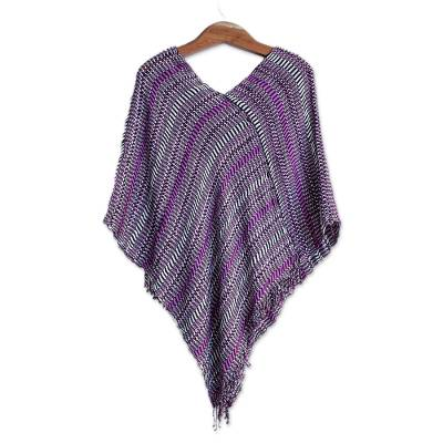 Guatemalan Handwoven Cotton Poncho in Pink and Purple