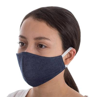 Cotton face masks, 'Blue Denim Style' - Dark Blue Cotton Denim Three-Layer Face Masks (Pair)