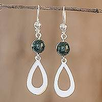 Jade dangle earrings, 'Subtlety in Dark Green' - Dark Green Jade and Sterling Silver Dangle Earrings