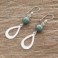 Jade dangle earrings, 'Subtlety in Light Green' - Light Green Jade and Sterling Silver Dangle Earrings