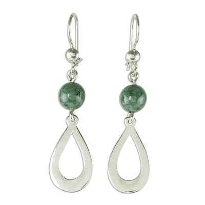 Jade dangle earrings, 'Subtlety in Light Green' - Light Green Jade and Sterling Silver Dangle Earrings