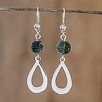 Jade dangle earrings, 'Ancestral Beauty in Dark Green' - Dark Green Jade and Sterling Silver Dangle Earrings