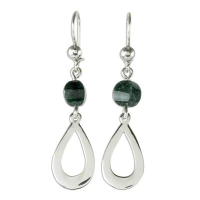 Jade dangle earrings, 'Ancestral Beauty in Dark Green' - Dark Green Jade and Sterling Silver Dangle Earrings