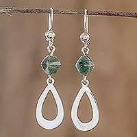 Jade dangle earrings, 'Ancestral Beauty in Light Green' - Light Green Jade and Sterling Silver Dangle Earrings