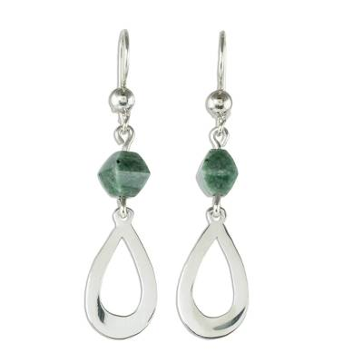 Jade dangle earrings, 'Ancestral Beauty in Light Green' - Light Green Jade and Sterling Silver Dangle Earrings