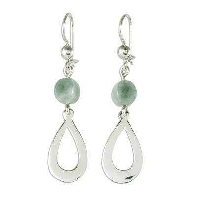 Apple Green Jade and Sterling Silver Dangle Earrings