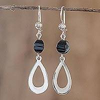 Jade dangle earrings, 'Ancestral Beauty in Black' - Black Jade and Sterling Silver Dangle Earrings