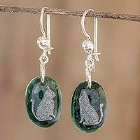 Jade dangle earrings, 'Nature of God - Cat' - Sterling Silver and Jade Cat Dangle Earrings
