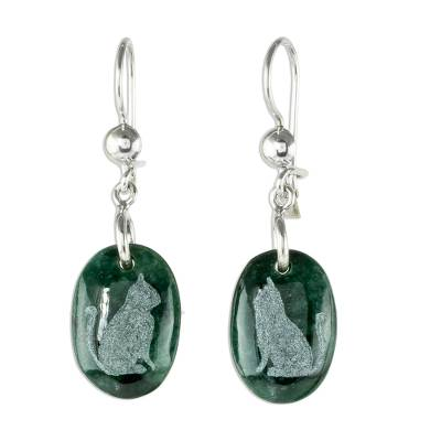 Jade dangle earrings, 'Nature of God - Cat' - Sterling Silver and Jade Cat Dangle Earrings