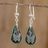 Jade dangle earrings, 'Living Nature - Butterfly' - Sterling Silver and Jade Butterfly Dangle Earrings