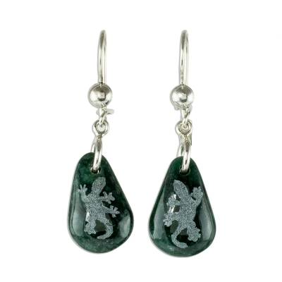 Sterling Silver and Jade Gecko Dangle Earrings