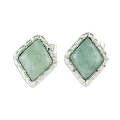 Sterling Silver Stud Earrings with Apple Green Jade Diamonds
