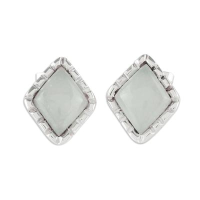 Silver Stud Earrings with Pale Ice Green Jade Diamonds