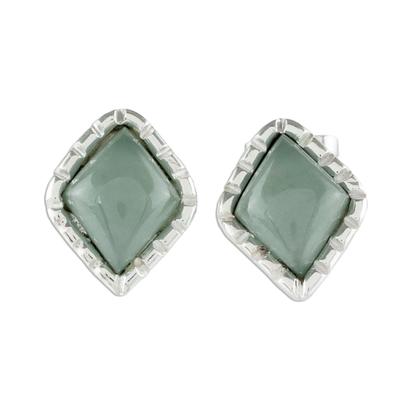 Silver Stud Earrings with Princess Green Jade Diamonds