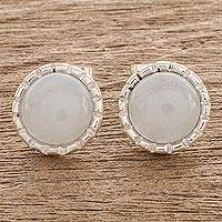 Jade stud earrings, 'Ice Green Moon' - 925 Silver Stud Earrings with Pale Ice Green Jade Circles