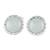 Jade stud earrings, 'Ice Green Moon' - 925 Silver Stud Earrings with Pale Ice Green Jade Circles (image 2a) thumbail