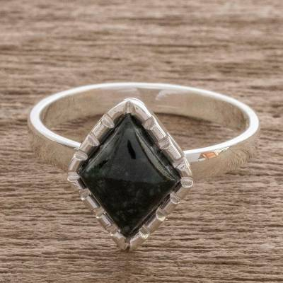 Jade cocktail ring, 'Dark Green Diamond' - Sterling Silver Ring with a Very Dark Green Jade Diamond