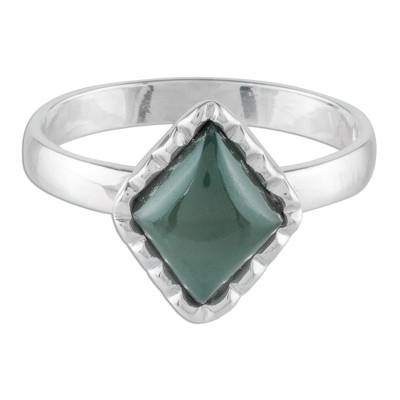 Sterling Silver Ring with a Princess Green Jade Diamond