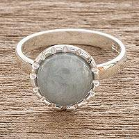 Jade cocktail ring, 'Apple Green Moon' - Sterling Silver Ring with an Apple Green Jade Circle