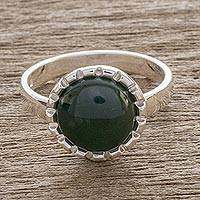 Jade cocktail ring, 'Princess Green Moon' - Sterling Silver Ring with a Princess Green Jade Circle