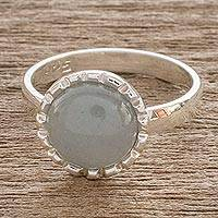 Jade cocktail ring, 'Ice Green Moon' - Sterling Silver Ring with a Pale Ice Green Jade Circle