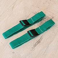 Cotton face mask straps, 'Emerald Green Comfort' (pair) - 2 Adjustable Emerald Green Cotton Face Mask Straps